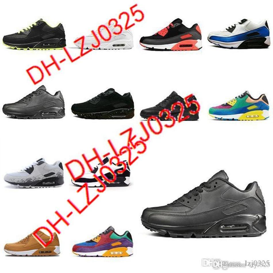 Botas al por mayor zapatillas de deporte de moda zapato clásico 90 hombres y mujeres zapatos deportes entrenador deportivo superficie de cojín transpirable 5.5-11 DH-X82 ABN143