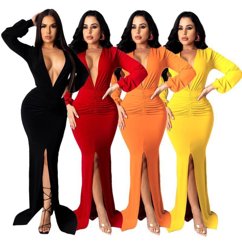 Günlük Elbiseler Felyn 2021 Ins Internet Ünlü Ünlü Elbise Katı V Yaka Uzun Kollu Dantelli Seksi Parti Maxi Vestidos