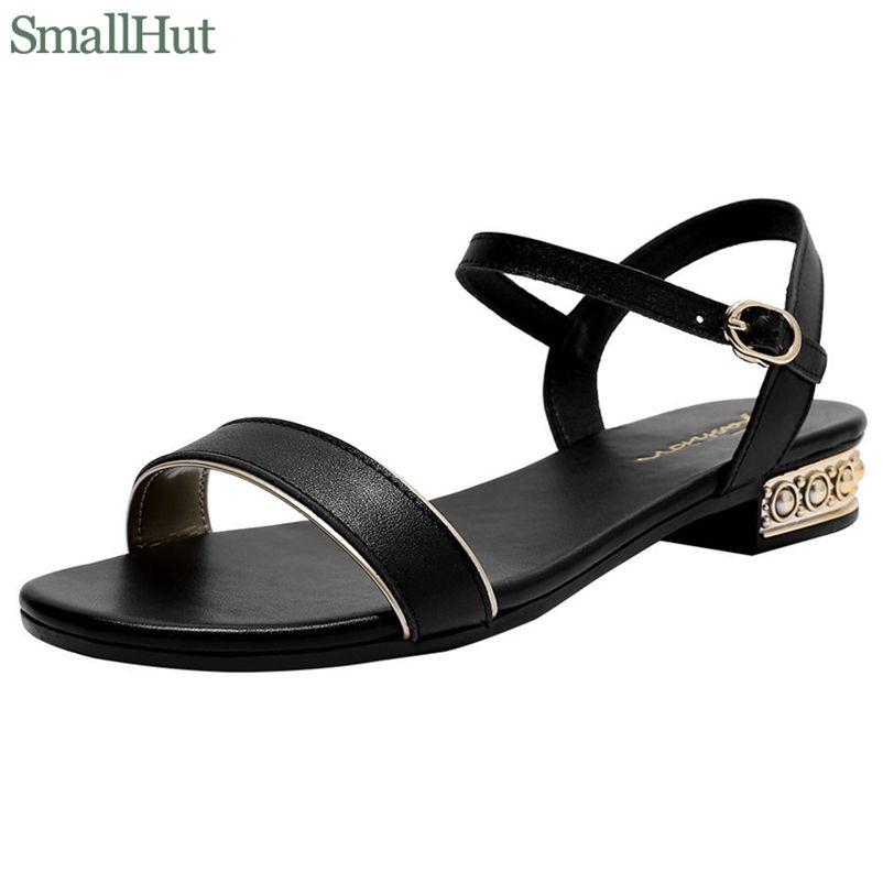 Frauen Echtes Leder Sandalen Niedrige Ferse Schnalle Strap Damen Offene Zehe Schwarz Beige Metall Dekoration Sommer Weibliche Schuhe M093 210610