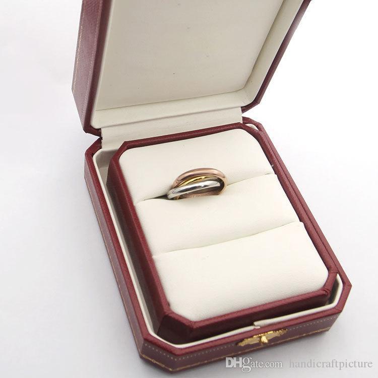 Luxus Designer Schmuck Frauen Ring Tri-Color Paar Ring Enelettiert Drei Ringe High End Fashion Design