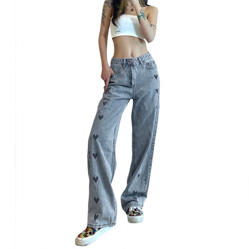 Женщины Свободные джинсы, Взрослые Любовные Шаблон Высокая талия Прямые Брюки с карманами Женские джинсы