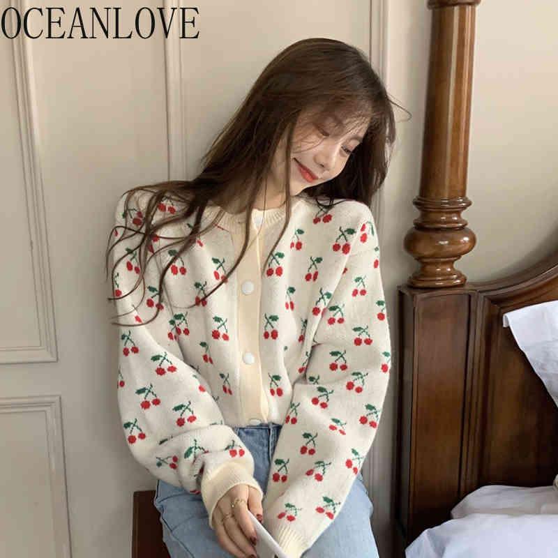 Oceanlove Femme Pulls Print Vintage Kawaii Cardigans Kawaii Spring Tricoté Spring Automne Coréen Simple Single Mujer Chaquetta 19727 210513