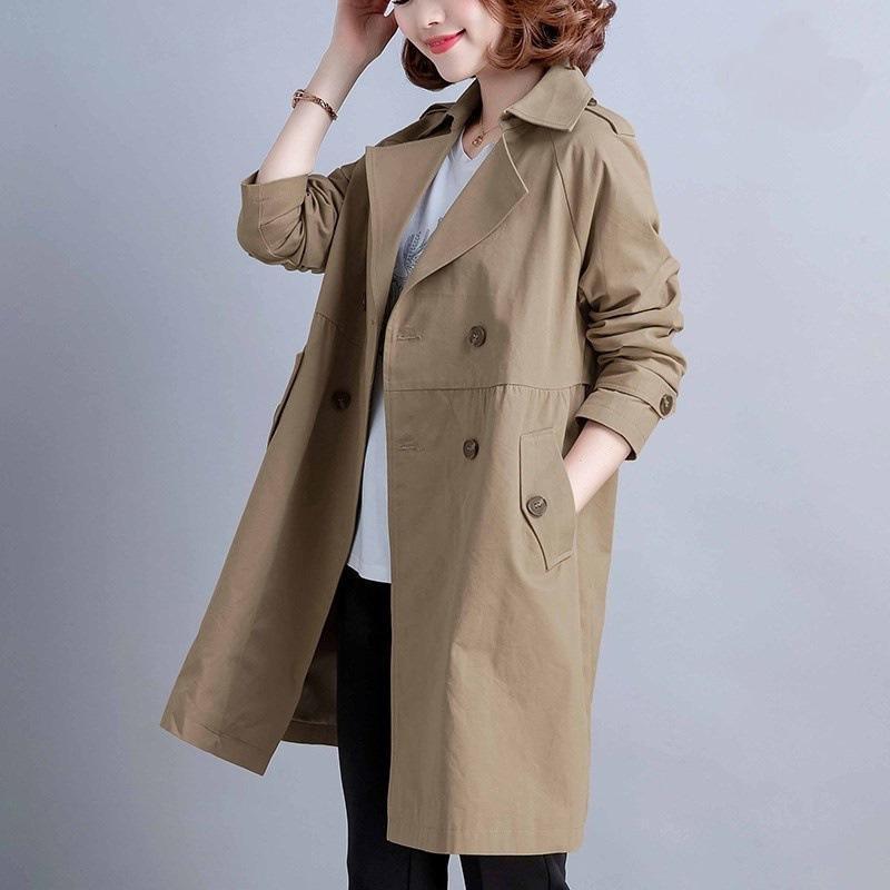 여성 트렌치 코트 솔리드 컬러 윈드 브레이커 봄 가을 작은 느슨한 중간 길이 오버 코트 레저 플러스 사이즈 4XL 여성용 코트