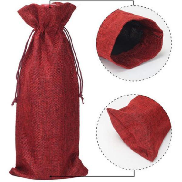 선물 포장 삼 베 와인 병 가방 샴페인 포장 가방 웨딩 파티 축제 크리스마스 장식 소품 15 * 35cm GWE5746
