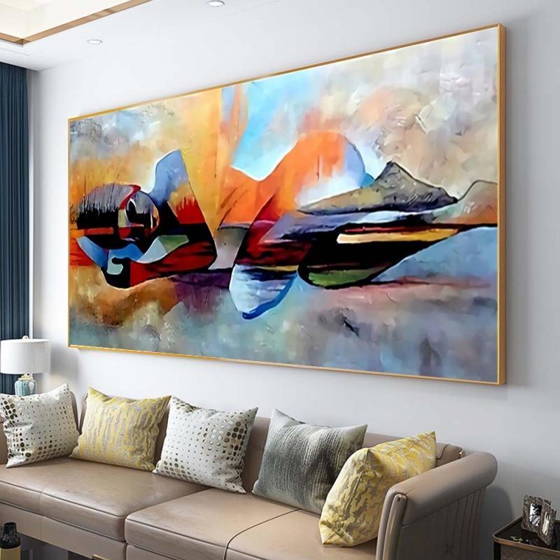 Pinturas abstrata mulher geométrica pintura decoração de casa arte de parede para a sala de estar Impressão núcleo sem moldura