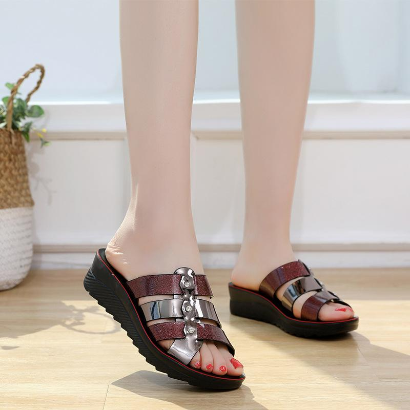 202with box sandals women real leather studs high heels sandal 35-42 slippers slide outdoor beach flip flops