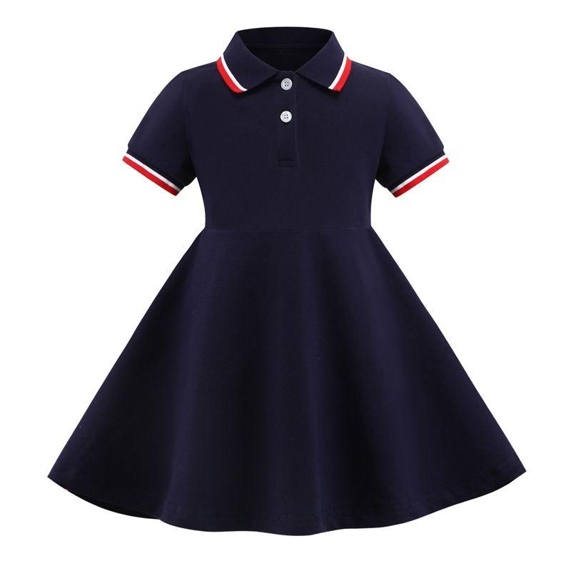 Venta al por menor / al por mayor Baby Girls Lapel Collegiate 100% algodón princesa vestidos niños diseñadores de moda ropa niños ropa boutique