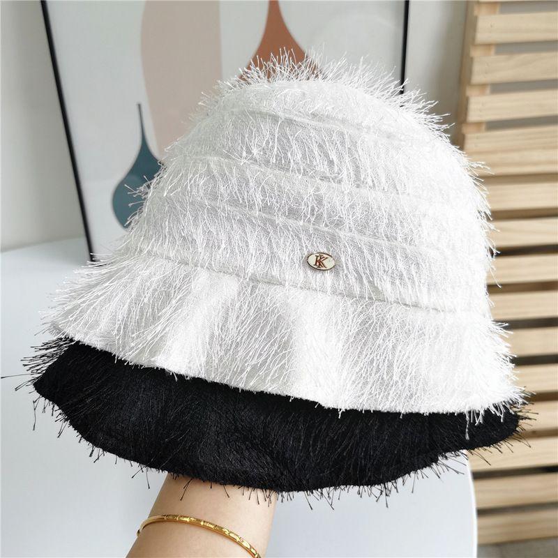 Chapéus de borda mesquinho Primavera e verão Moda Temperamento Moda Barba Fisherman's Pure Color Pure Sunshade Buet Hat