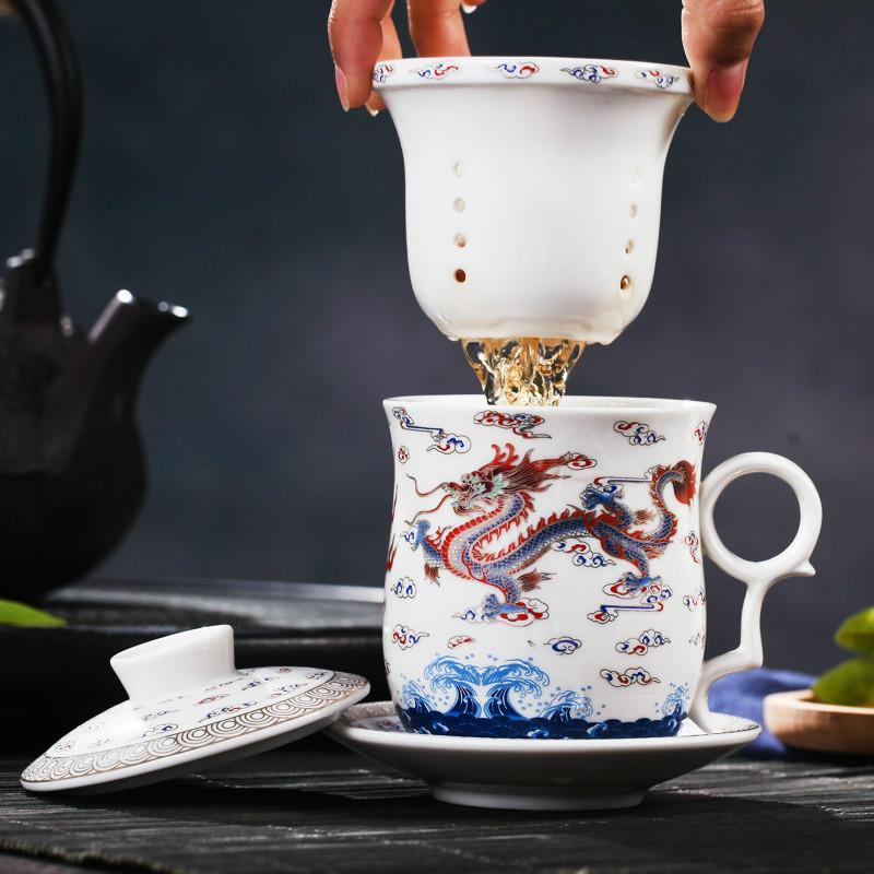 350ml Chinesische Art Antique Porzellan Teetasse Untertasse Sets Gelb Drache Filterbecher