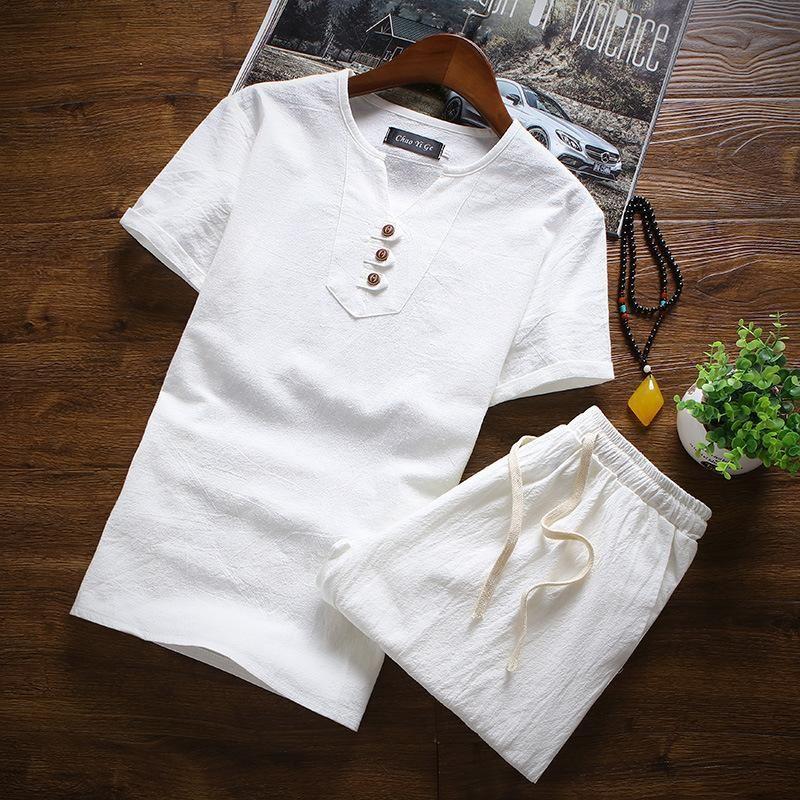남자 tracksuits # 3403 두 조각 세트 티셔츠와 반바지 남자 여름 캐주얼 옷 플러스 사이즈 4xl 5xl 중국 스타일 망 세트 세 버튼 세트