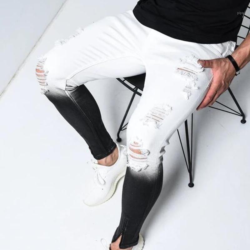 2020 Hip Hop Jeams Gradiente colore moda strappato jeans pantaloni uomo matita matita pantaloni in denim slim fit pantaloni in denim streetwear1