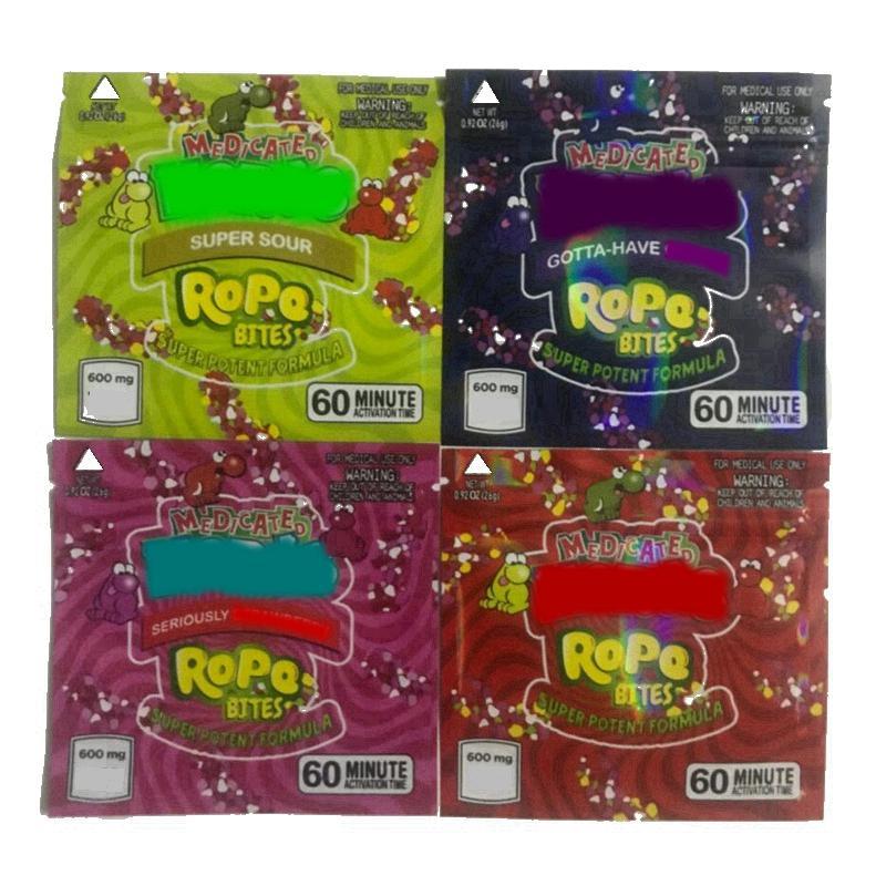 В наличии Квадратный Лечебный Веревочные Укусы Упаковочные Сумки 4Types Пустая липкая сумка Пакет Пакет Запада Доказательство Baggie 600 мг Пищевая Упаковка VS Печенья Runtz Mylar Ziplock Baggies