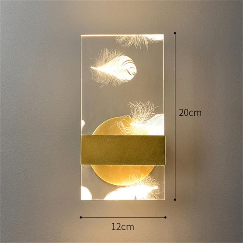 Nordic Luxury Design Acrylic Feather Led Wall Lamp Home Deco Bedroom Bedside Decorative Night Lights El Corridor Gold Sconce