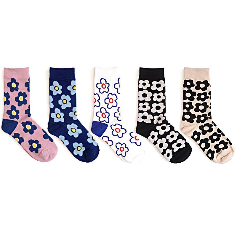 Kore Moda Kadınlar Çorap Tam Çiçekler 5 Çift Bir Çok Rahat 210515