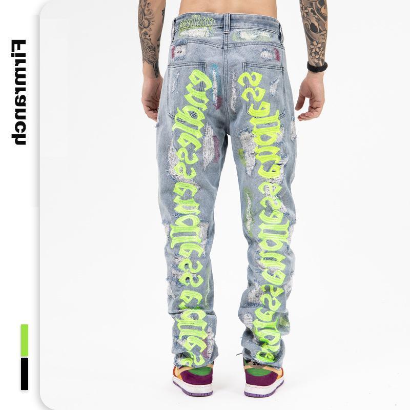Jeans masculinos volta letra bordado para homens 2021 ins Hole quebrado homme solta infinita calças de denim moto trazer
