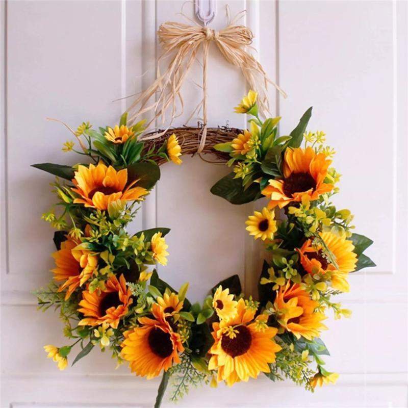 Artificial Sunflower Wreath Door Hanging Silk Flower Garland Autumn Decoration Fall Home Decor Party Supplies Decorative Flowers & Wreaths