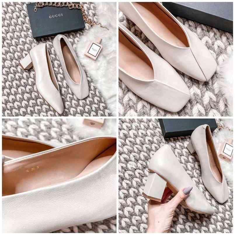 MEOTINA High Heels Frauen Pumps Natürliches Echtes Leder Dicke High Heel Handschuh Schuhe Echte Leder Square Toe Büro Dame Schuhe 40 210408