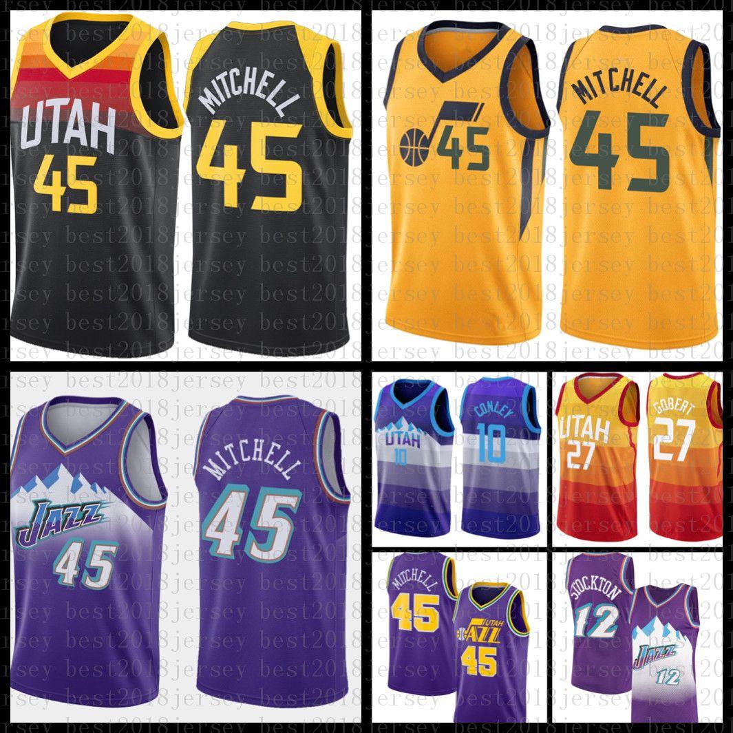 New Basketball Jersey Mens Donovan 45 Mitchell Malha Retro Rudy 27 Gobert John 12 Stockton Youth Karl 32 Malone