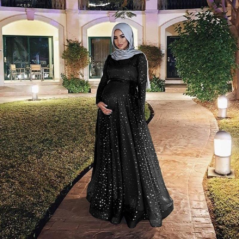 Muslim Evening Dresses Sequin Long Sleeve Pregnant A Line Prom Party Formal Gowns