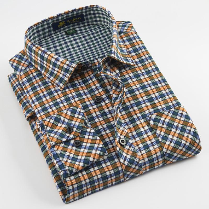 캐주얼 닦 았된 패브릭 망 격자 무늬 셔츠 턴 다운 칼라 긴 소매 정기적 인 적합 부드러운 편안한 가슴 주머니가있는 퇴색