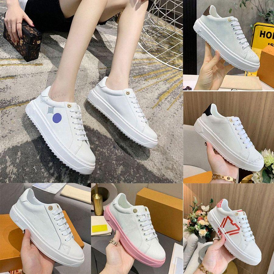 المصممين الفضلات النساء المهلة حذاء رياضة منخفض عارضة الأحذية البيضاء العجل الجلود الدائري المطاط تسولي المطبوعة المدربين حجم 35-40xolm #