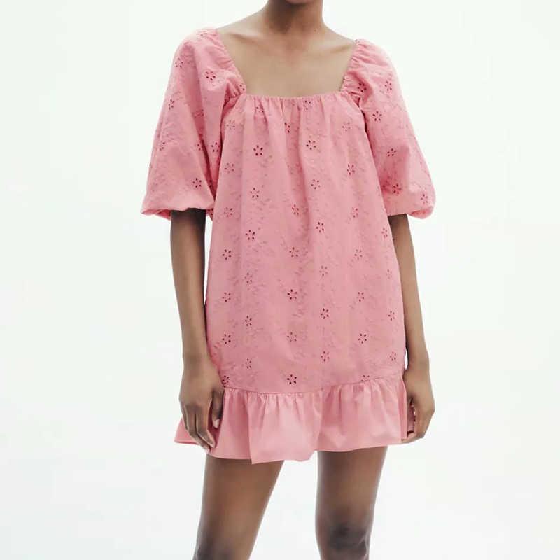 Frauen Solide Aushöhlen Stickerei Kleid Chic Kurzarm Weibliche Sommer Mini Lose Kleider Vestidos Ozz9976 210603