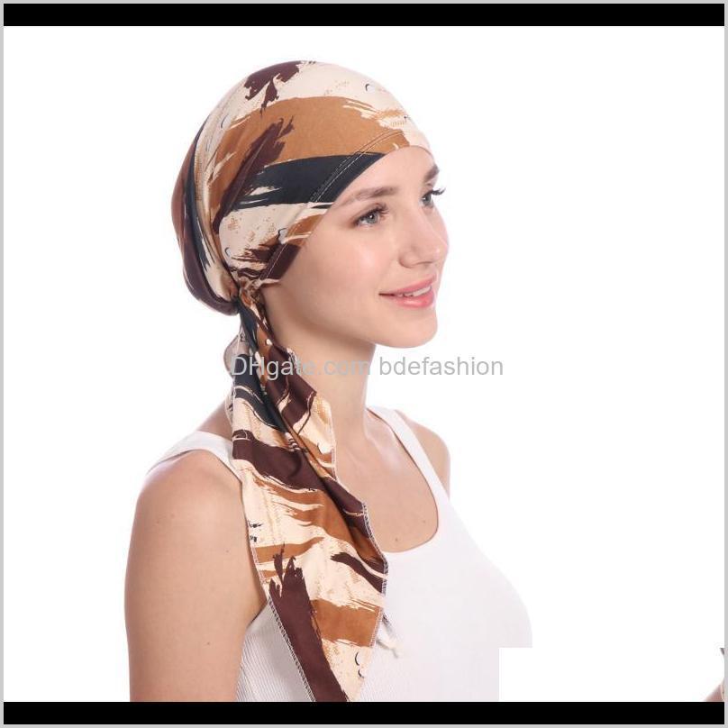 Beanie / Kafatası Şapkalar Şapkalar, Atkılar Eldiven Moda AessoriesEuropean ve Amerikan Baskılı Arc Çiçek Bezi Şapka Müslüman Baotou Süt Ipek Kapak