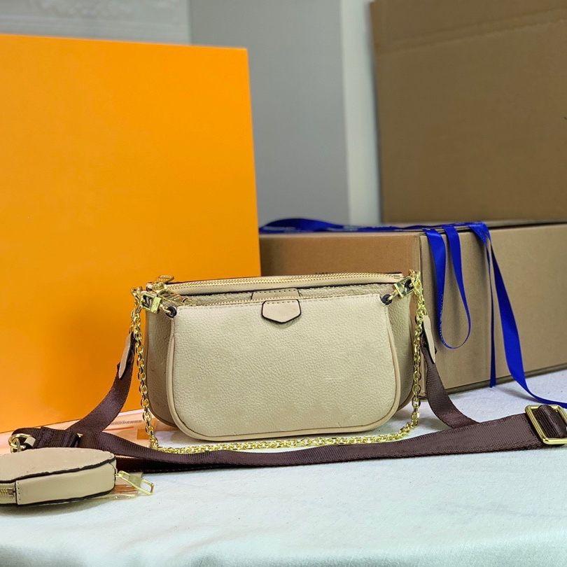 Empreitung Leder Multi Pochette Bag 3in1 Composite Crossbody mit Riemen Runde Münzhalterkette