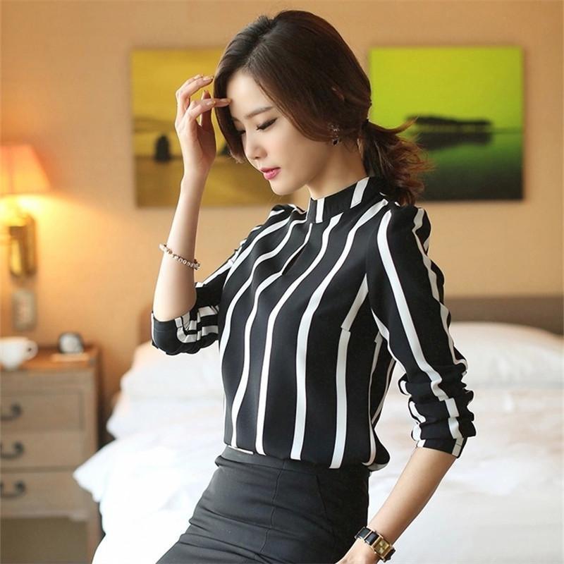 Asien-Code Ankunft Frauen Bluse Roupas Femininas Vollarm O Neck Streifen Plus Größe Kleidung Ol shirts Frauen Blusen