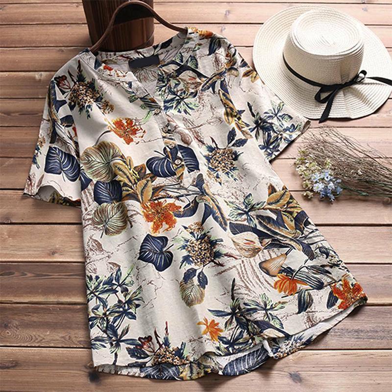 Frauen Leinen Bluse Hemd 2021 Sommer Kurzarm Button Tops Frauen V-Ausschnitt Blumengedruckte Beiläufige Lose Hemden Femme Blusas Blusen