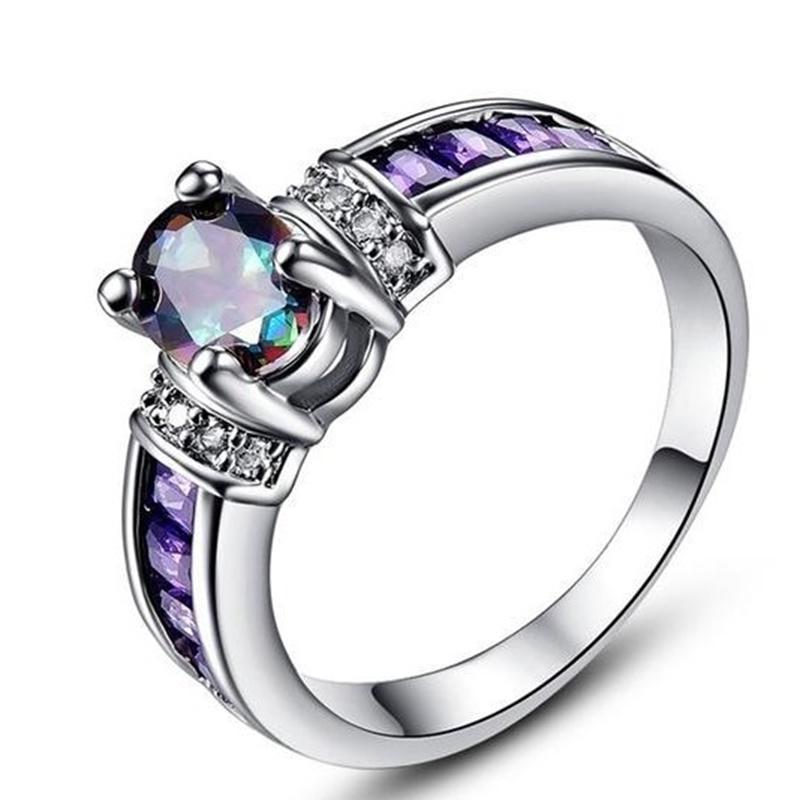 다채로운 weixu 반지 이우 스톤 보라색 다이아몬드 합금 보석 레이디의 손 장식