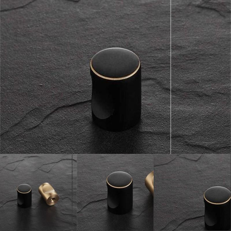 Solid Brass Black Cabinet Knob Furniture Dresser Kitchen Cupboard Drawer knob Pull Handle wholesale furniture hardware accessory 486 V2