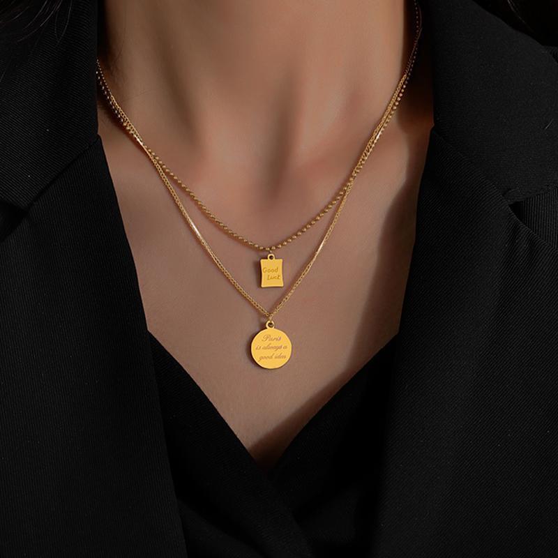 LifeFontier العصرية هندسية طبقة قلادة قلادة الأزياء الفولاذ المقاوم للصدأ الذهب مطلي الخرز سلسلة حظا سعيدا المختنقون