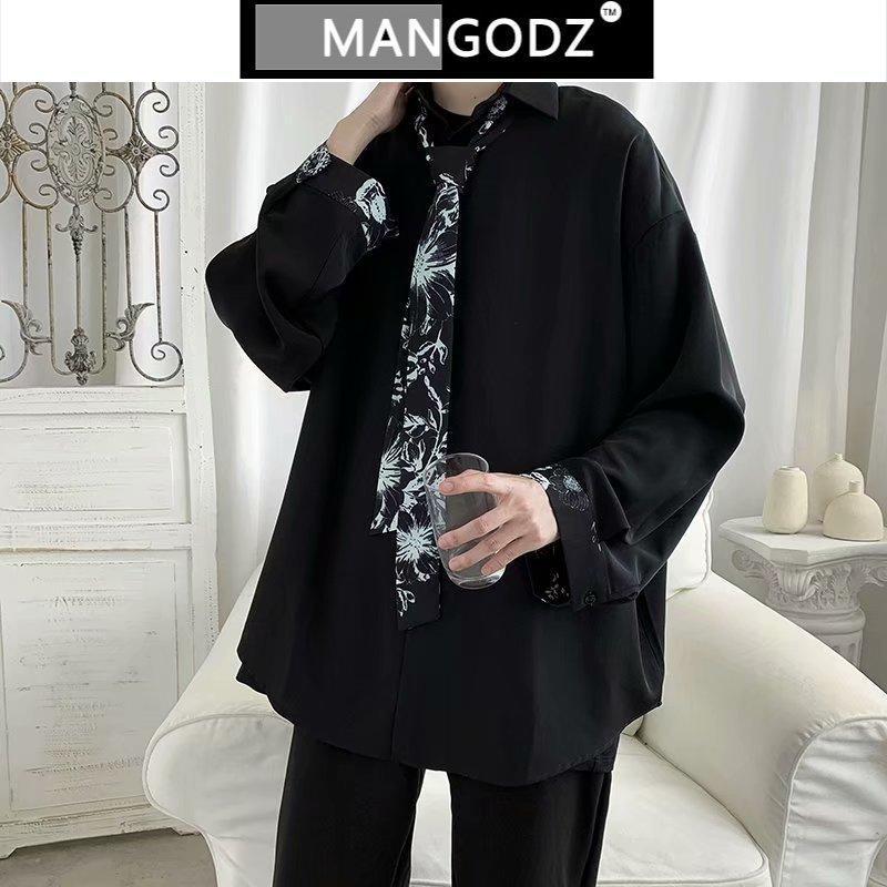 넥타이 남성 캐주얼 잘 생긴 긴 소매 셔츠 카메인 Masculina Streetwear 블랙 / 그레이 컬러 의류 빈티지 남성 탑스