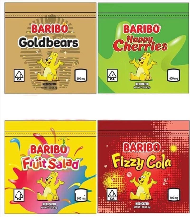 Paketleme Çantası 600 mg Baribo Lezzet Çanta Sakızlı Şeker Ekşi Çantanabilir Kitap Çiçek Fermuar Kuru Perakende Paketi Kuzey Amerika