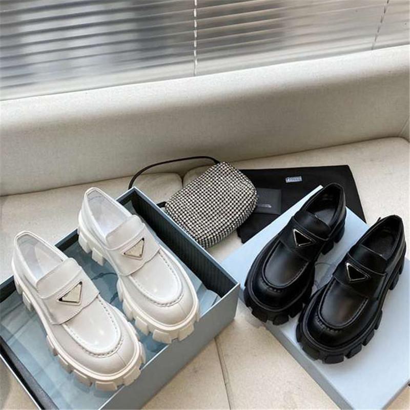 Yüksek Kaliteli Ayakkabı Yumuşak Dana Loafer'lar Kauçuk Platformu Sneakers Siyah Parlak Deri Terlik Kalın Alt Ayakkabı Tıknaz Yuvarlak Kafa Sneaker Kutusu Ile