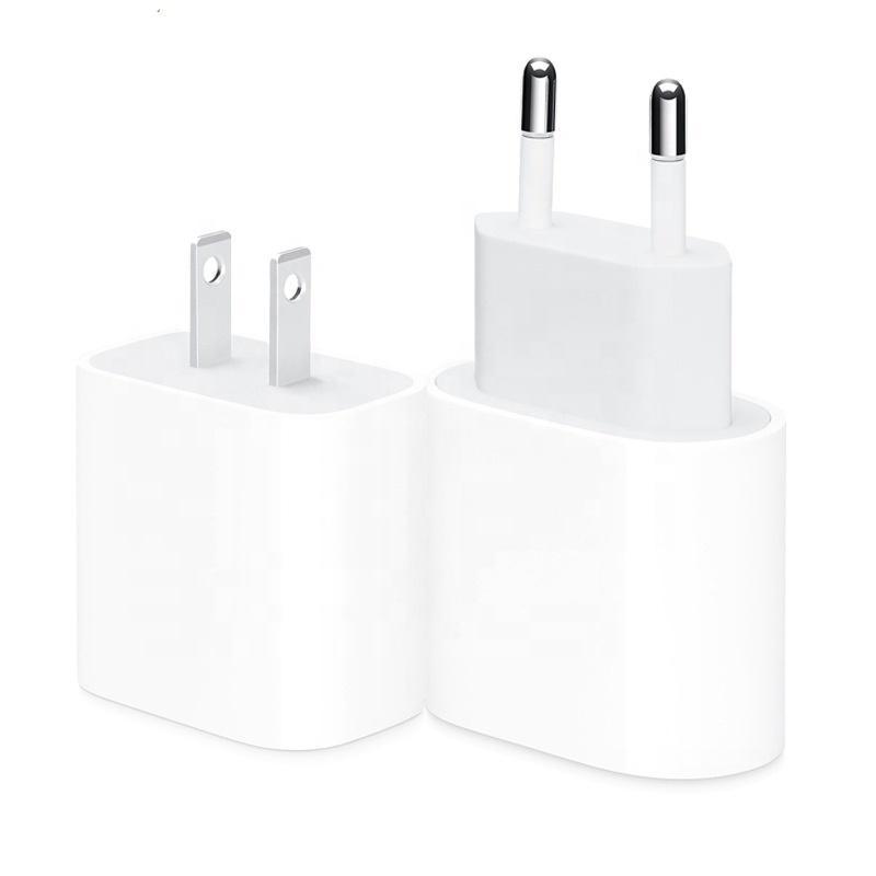 PD 20W 18W iPhone 13 12에 대한 빠른 안전 충전기 13 12 11 원래 로고 EU / US 플러그 USB-C TYPE-C 포트 홈 충전 어댑터 빠른 충전기 소매 상자 없음
