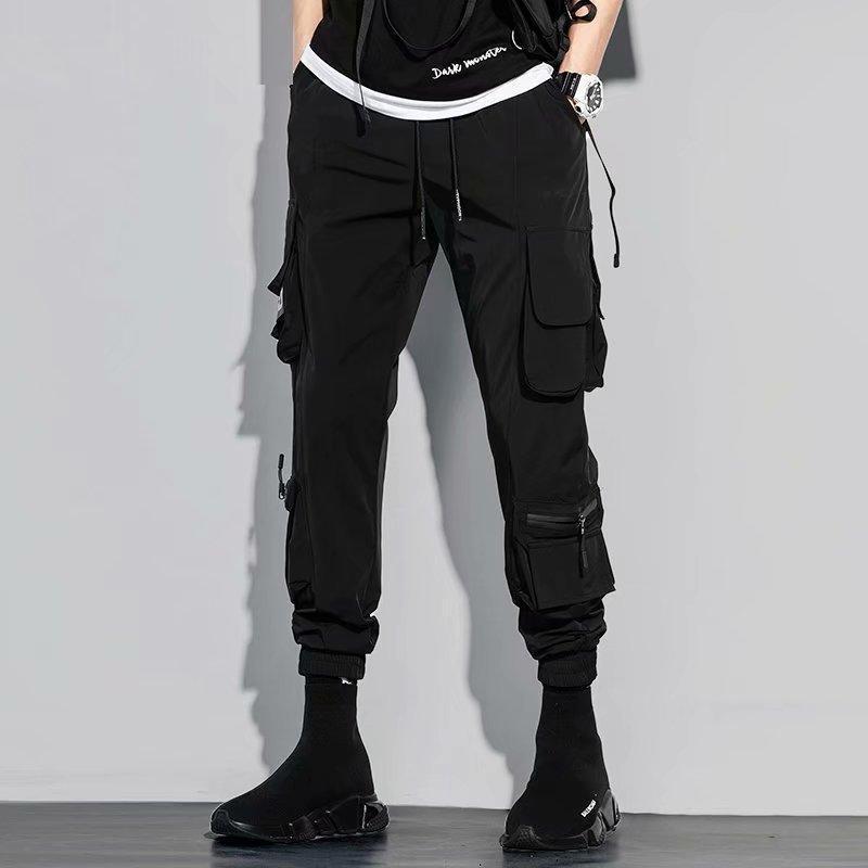 리본 멀티 포켓화물 바지 남자 하라주쿠 캐주얼 조깅 트랙 Streetwear 바지 힙합 XXXL 남자