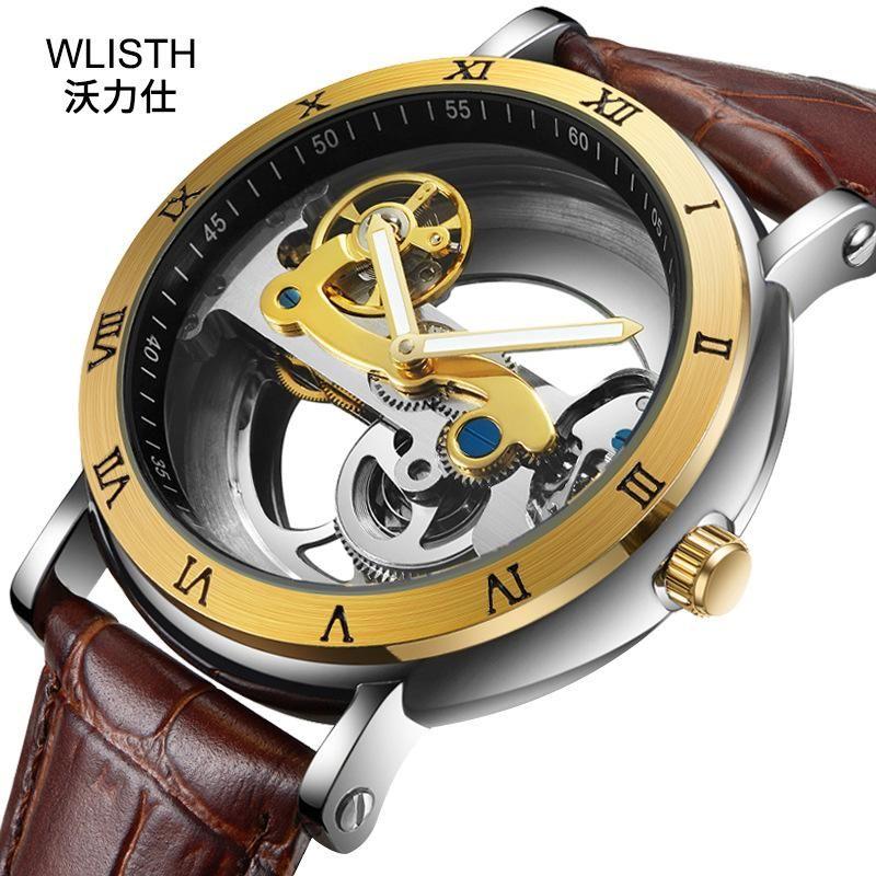 Erkek Saatler Üst Moda Turbillon Otomatik Mekanik İzle Erkekler Su Geçirmez İskelet Saat Montre Homme Saatı