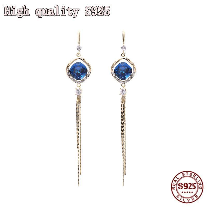 Dangle & Chandelier S925 Silver Needle Exquisite Tassel Blue Crystal Earrings Temperament Long Geometric Earhook Women Fashion Jewelry