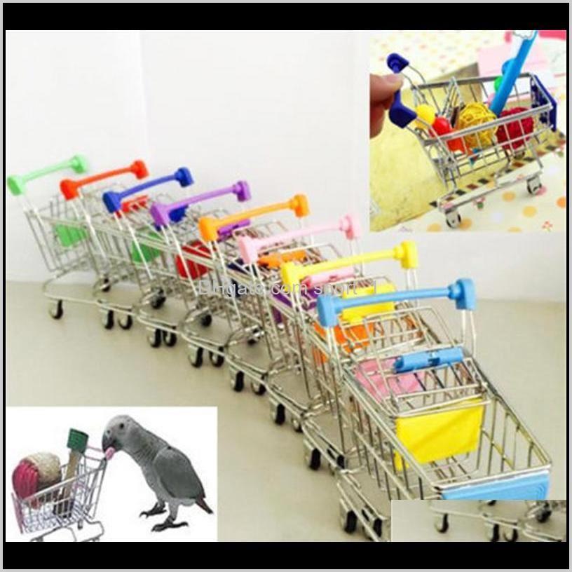 Jaulas Mini Supermercado Carro de la compra Colorido Funny Pretend Play Toys Trolley Pet Bird Parrot Hamster Toy Poqyz VCR58