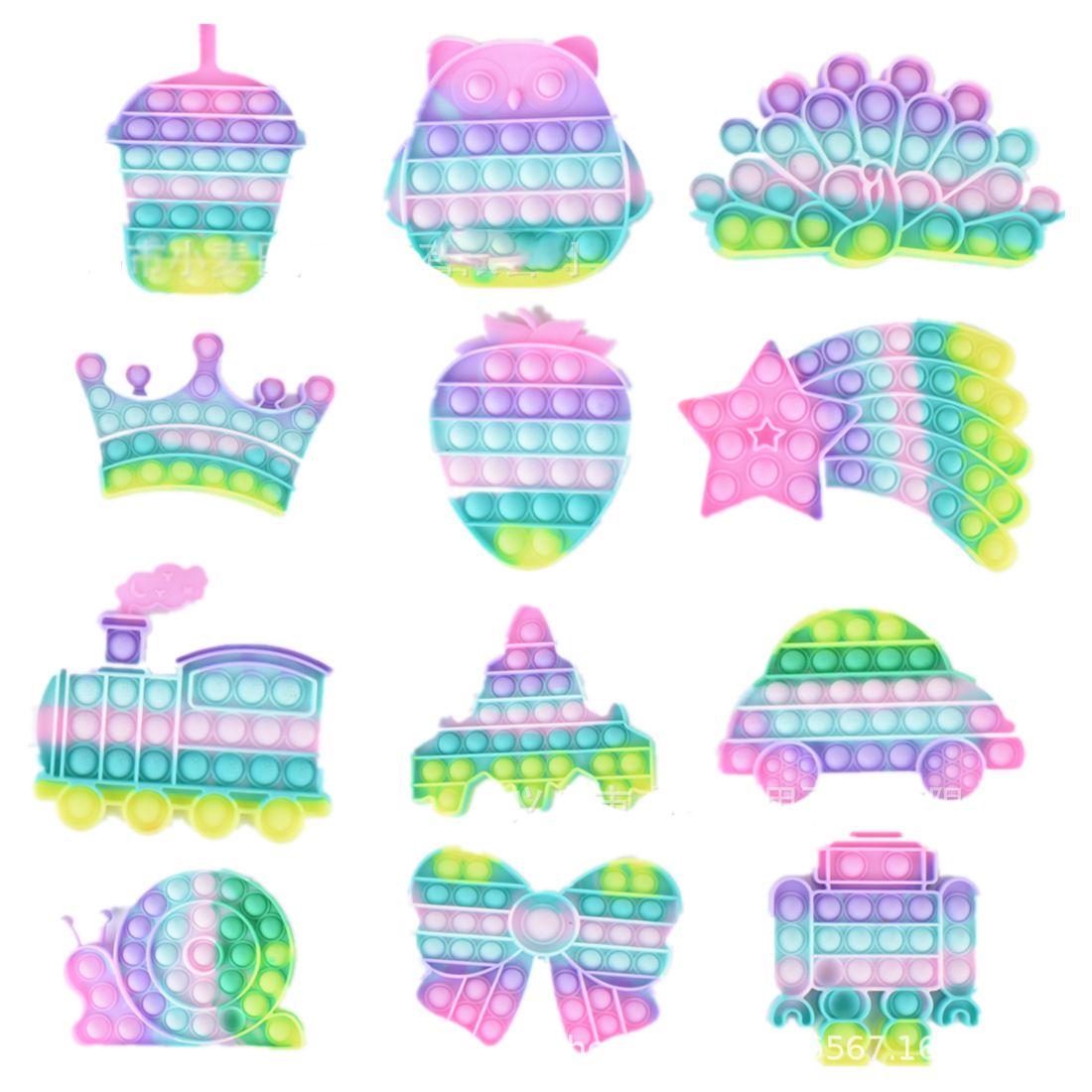 Macarone Push Bubble Fidget Toys Bambini Adulti Adulto Anti-stress Sensoriale Autismo Ha bisogno di stress reliviato del silicone Giocattolo per bambini Adulti Regalo Dono Strawberry Meteor Crown