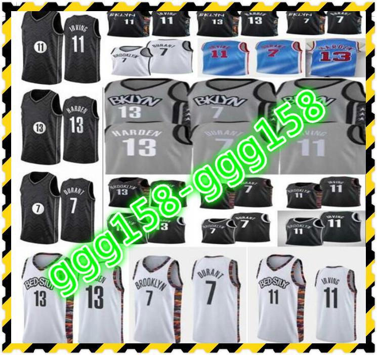 En Kaliteli Dikişli Erkekler Mavi Kevin 7 Durant Jersey Irving 11 Kyrie Basketbol Formaları Koleji NCAA Gömlek Siyah Beyaz Gri Çocuklar Gençlik