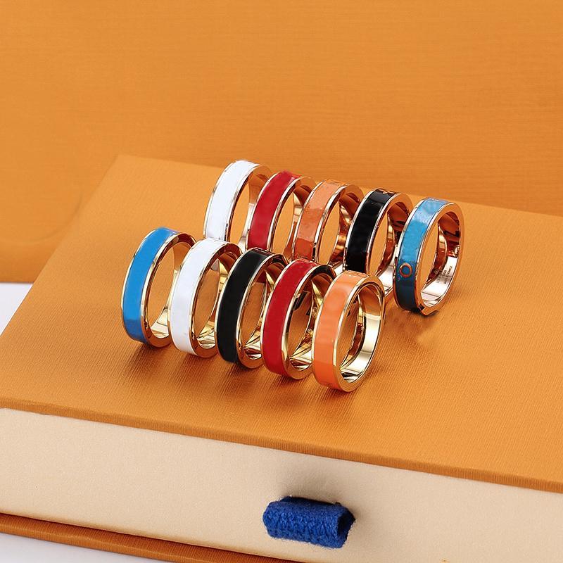 2021 anelli a fascia colorata in acciaio inox per donne uomini gioielli lettera oro argento anello rosa con scatola
