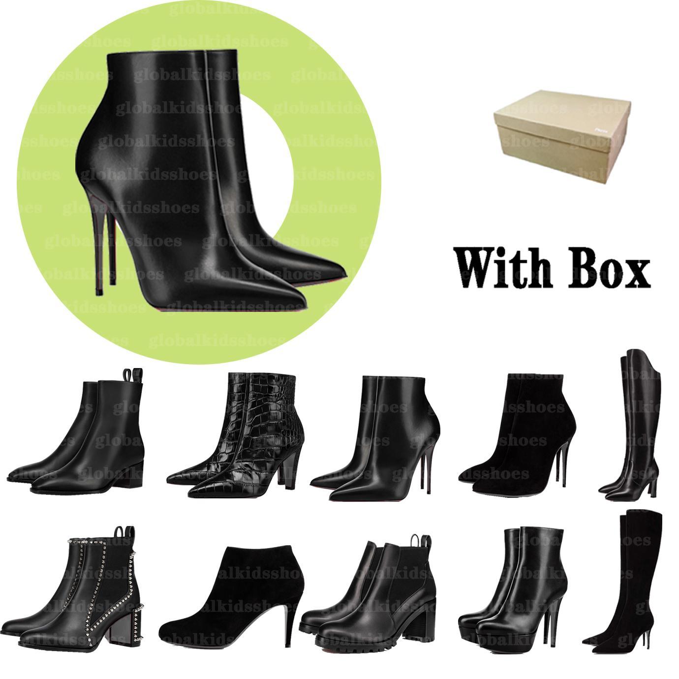 Mujeres de lujo de lujo zapatos de cuero botines de cuero botines negras nieve nieve rojo abajo rodilla tacón alto talón marrón altura bombas