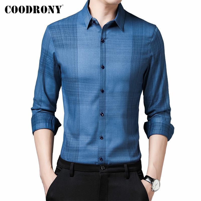 브랜드 봄 가을 도착 패션 캐주얼 긴 소매 셔츠 남성 비즈니스 소셜 슬림 피트 소프트 드레스 의류 C6186 남자 셔츠