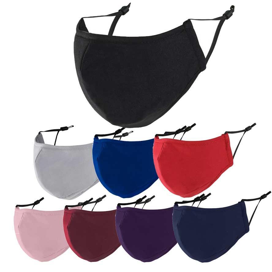 Máscara de cara Mascarillas de algodón negro de 3 capas Diseñadores Azul Azul Gris Red Polvo a prueba de polvo Lavable Anti-Haz PM2.5 Facenas Facenas para hombres Mujeres