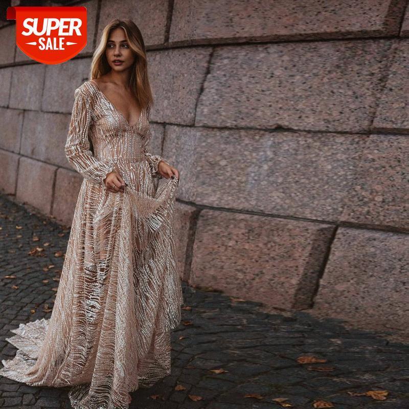 [auf Lager] Europäische und amerikanische Mode frauen sexy tiefer v langärmeliges kleid dünne lange rock # zu6j