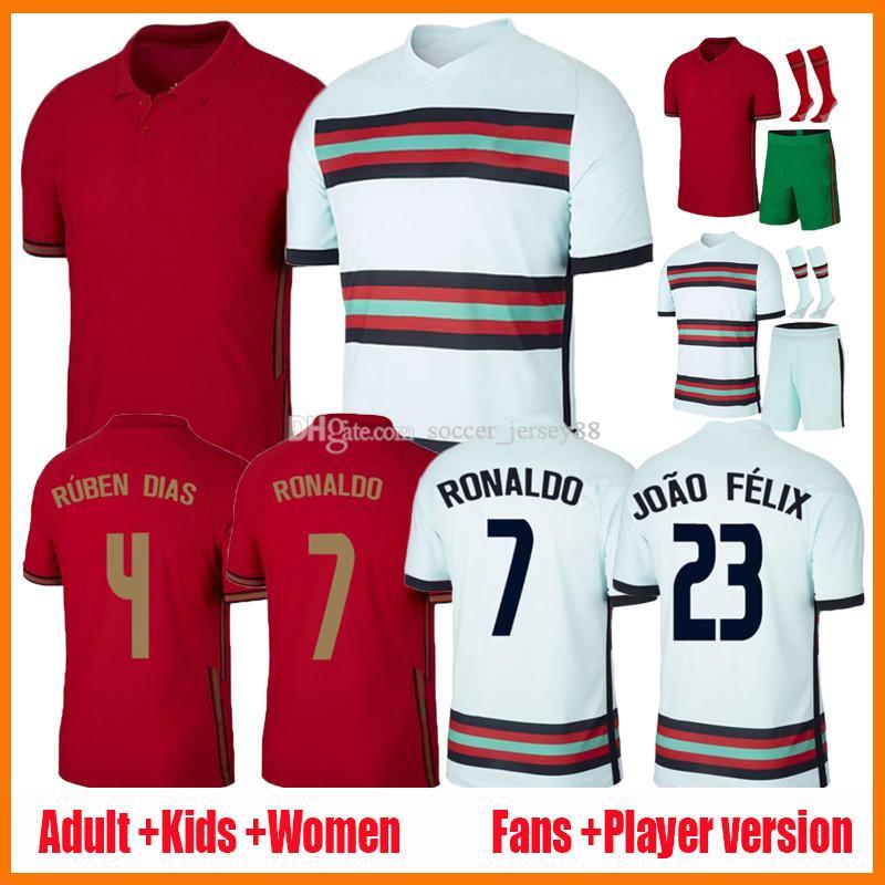 2021 Ronaldo Soccer Jersey Men Kits Kits Mujeres Jerseys Joao Felix Neves Po Bernardo Rtugal Cancelo Ruben Uniformes Away White 20 21 22 Camisetas de fútbol