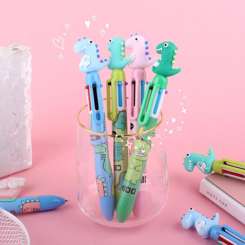 Ballpoint Pens Cute Dinosaur 6 Color Pen 0.5mm Kawaii Multicolor Rollerball School Supplies Gift Stationery Papelaria Escolar